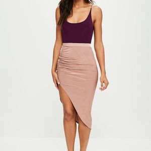 Room Service Nude Ruched Side Slit Skirt NWT